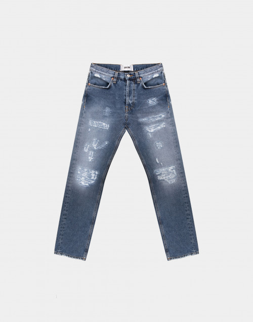 Used-effect denim jeans