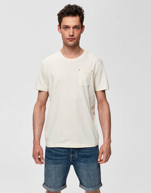 T-shirt con taschino panna