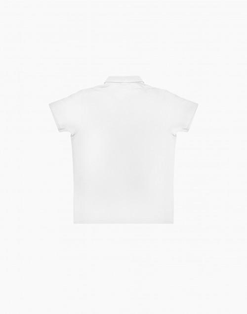 White flamed cotton polo shirt