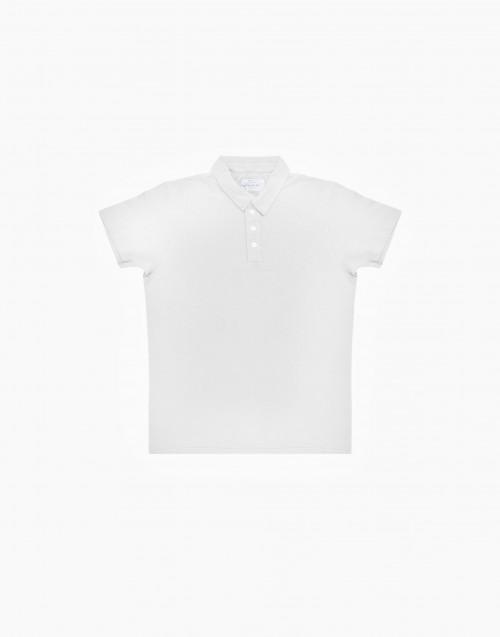 Polo in cotone fiammato bianca