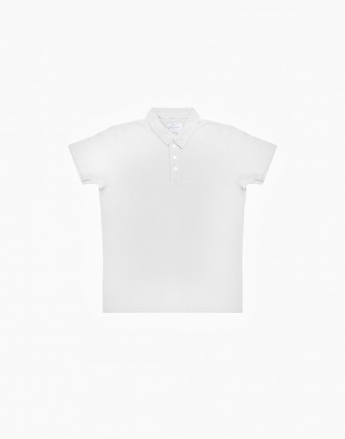 White flamed cotton polo shirt