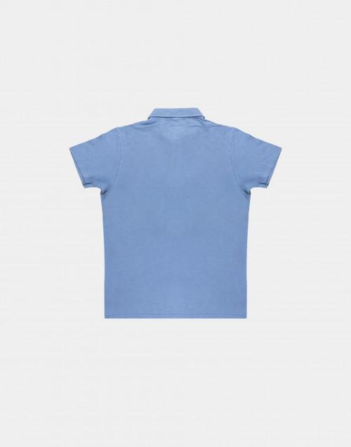 Light blue flamed cotton polo shirt