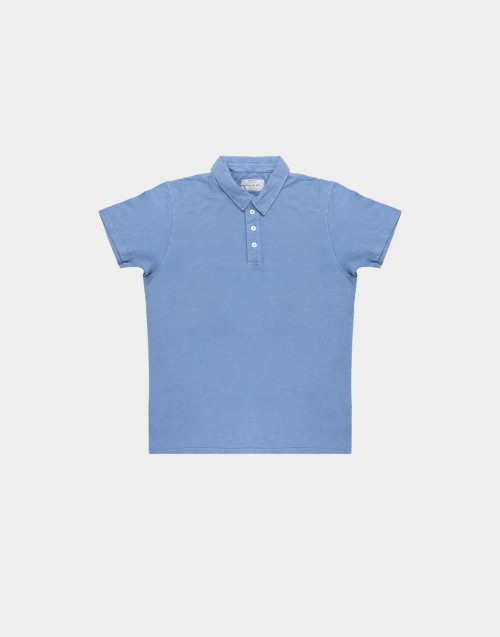 Light blue flamed cotton polo shirt