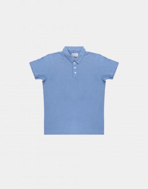 Polo in cotone fiammato azzurro
