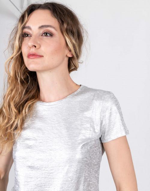 T-shirt in lino laminato argento