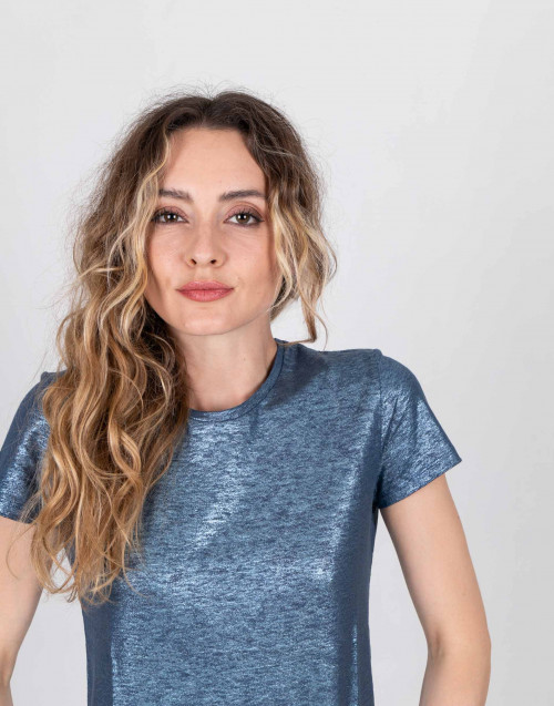 T-shirt in lino laminato blu