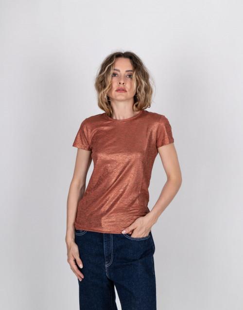 T-shirt in lino laminato terra