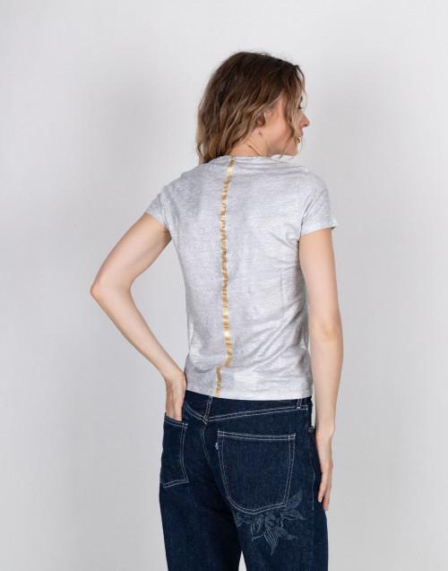Silver-tone linen t-shirt