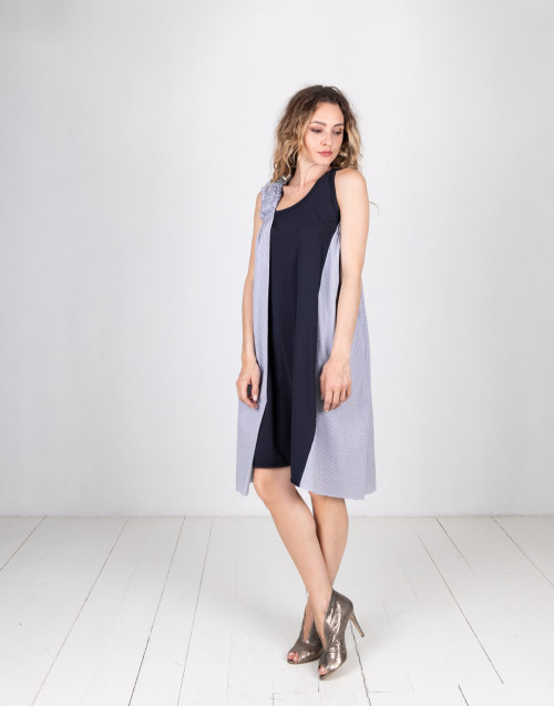 Ruches blue dress