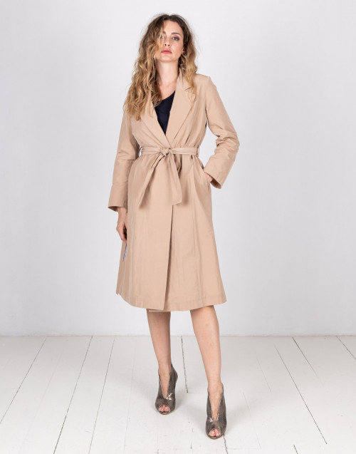 Beige shiny trench coat