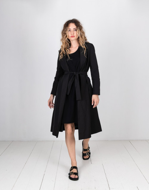 Black tissue trench coat