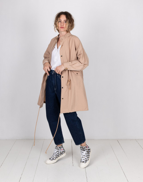 Beige over coat in nylon