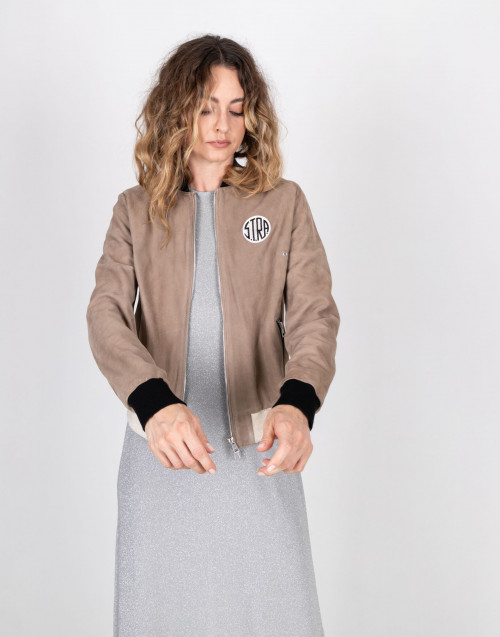 Leather bomber jacket by Stra
