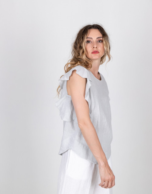 Ice color linen top