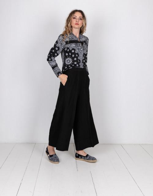 Pantalone in lino nero