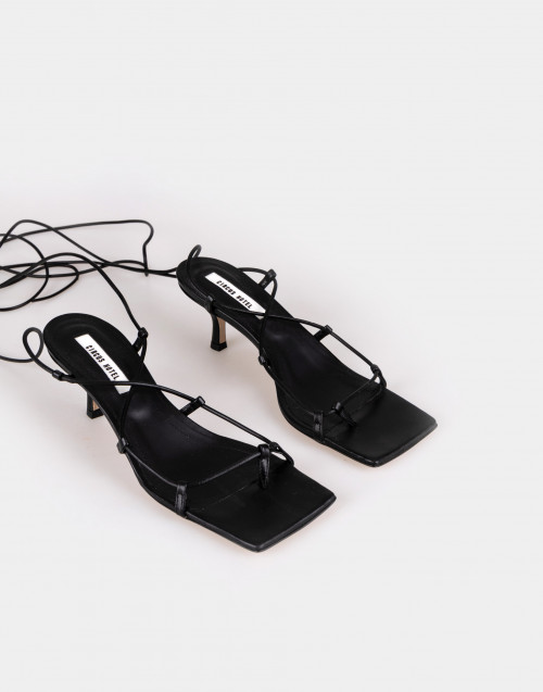 Black patent leather sandals