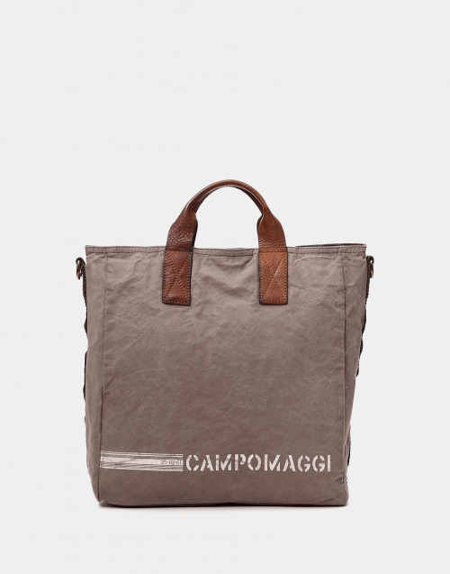 Borsa shopping canvas e pelle beige