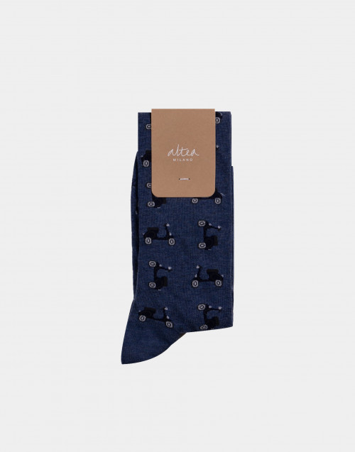 Blue and black vespa patterned socks