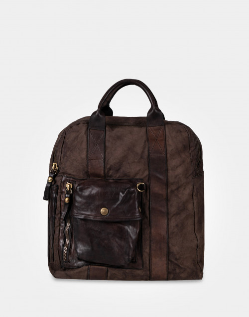 Brown cowhide and canvas backpack