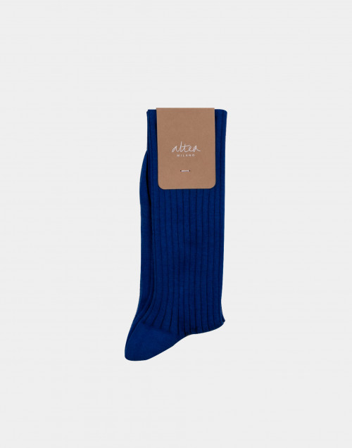 Blue and black cotton socks