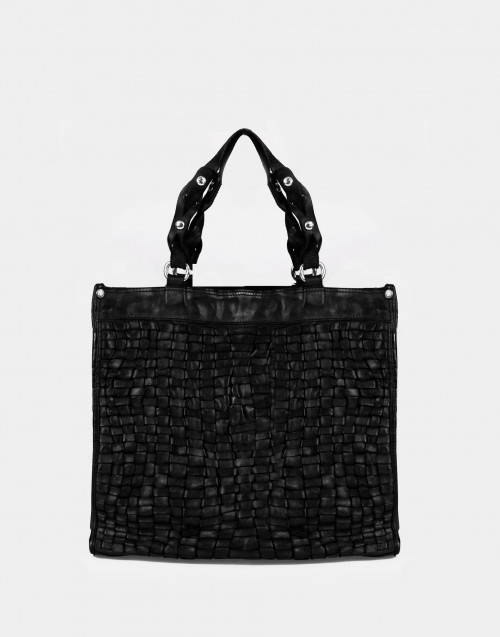 Black braided cowhide shopping bag