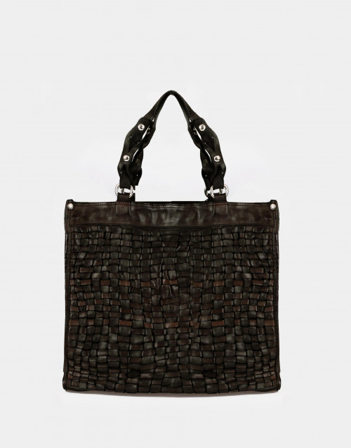 Brown braided cowhide shopping bag