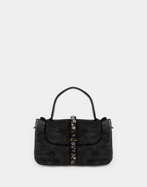 Little black cowhide handbag with studs