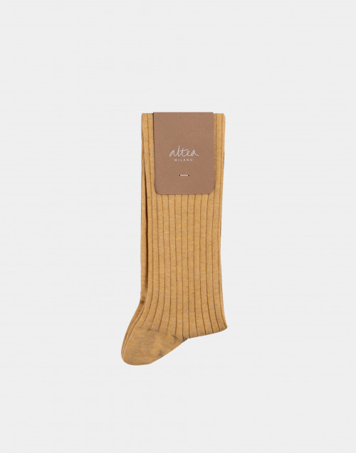 Mustard and black cotton socks