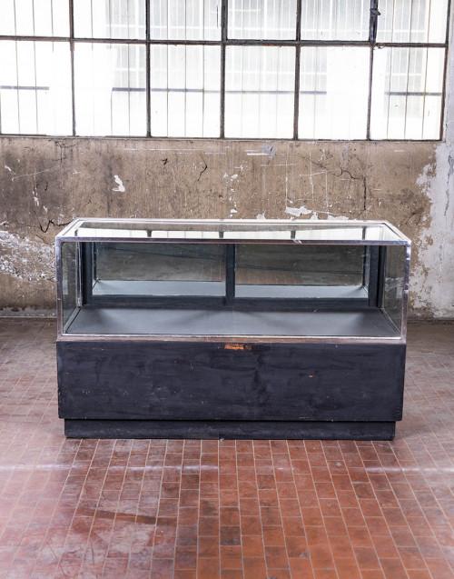 Banco vetrina in legno e vetro