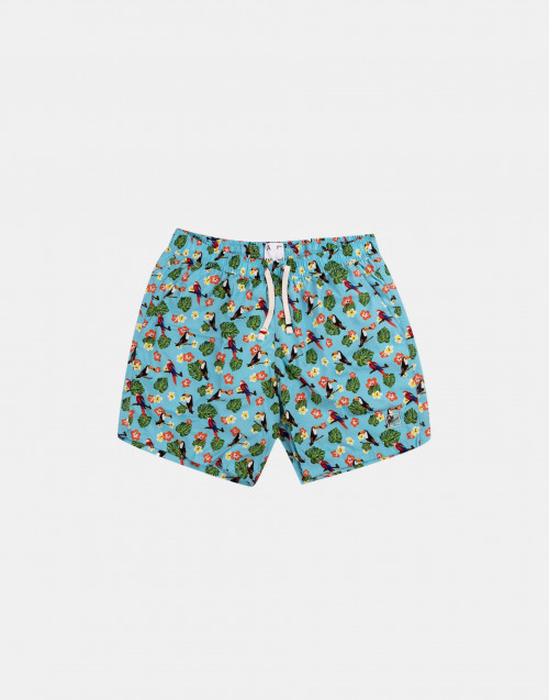 Light blue man swim short with jungle print