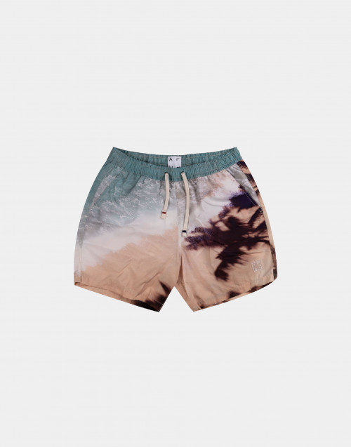 Man swim short with tan and light blue print
