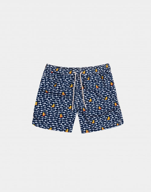 Man swim short with ducks and sharks