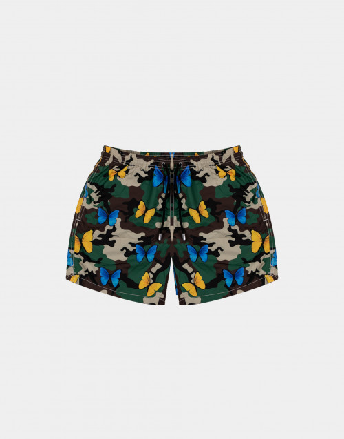 Man camouflage swim short with butterflies