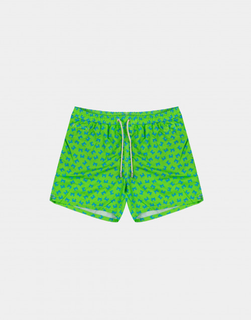 Man swim short with fluorescent green crabs