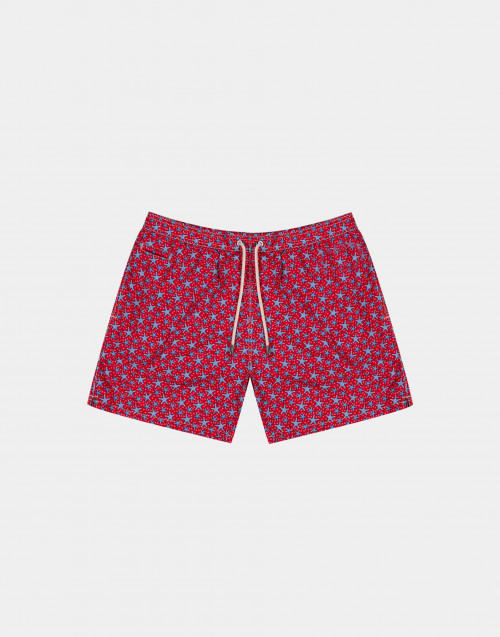 Red man swim short with blue and light blue starfishes