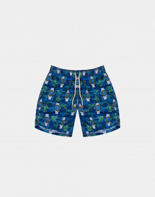 Blue man swim short with jellyfishes and watches