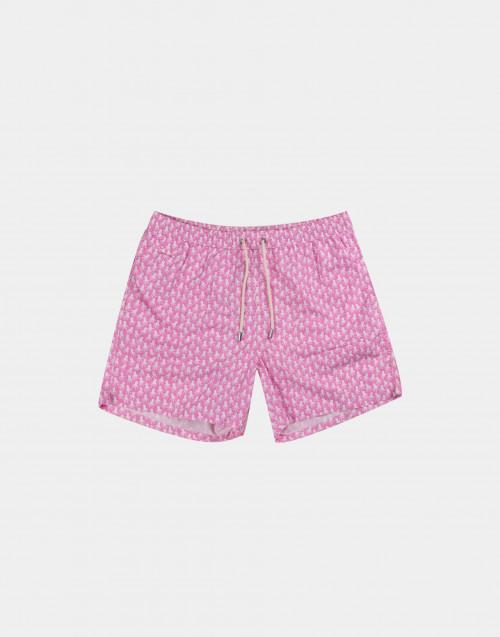 Costume mare uomo rosa con polpi bianchi