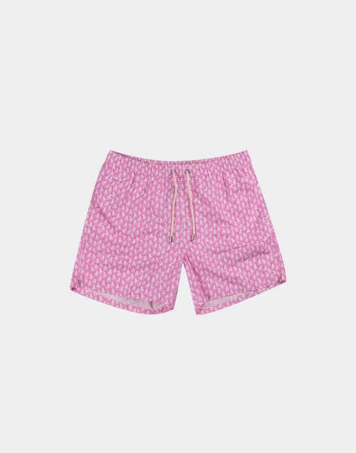 Pink man swim short with white octopuses