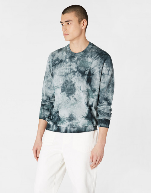 Gray cotton tie-dye sweater