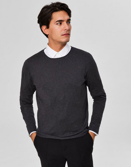 Anthracite cotton and silk sweater