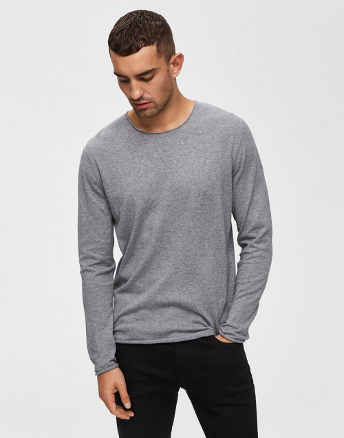 Gray cotton and silk sweater