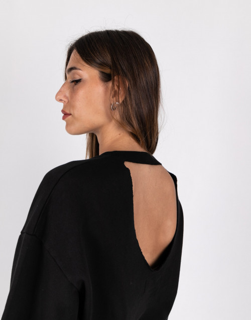 black sweatshirt with back neckline