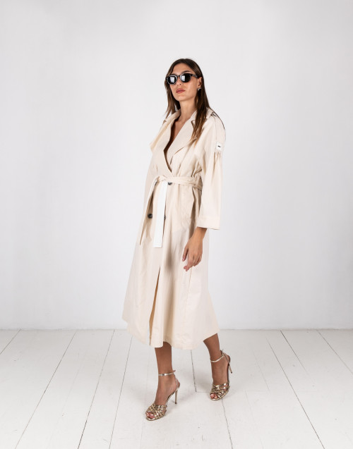 cream long trench