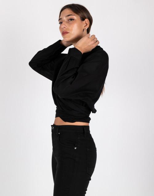 Camicia incrociata nera