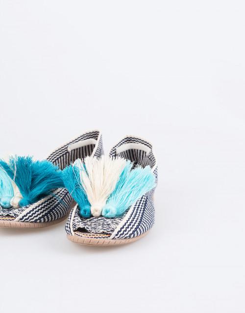 Espadrillas Cotone Intrecciato e Gomma Bianco e Blu