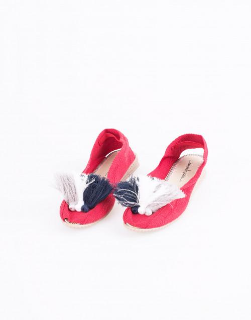 Espadrillas in cotone rosso con pon-pon