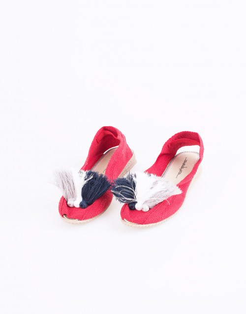 Red Cotton Espadrilles w/ pom-pom