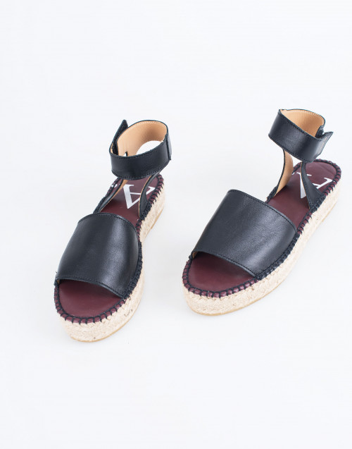Black Leather Alvesta DS Sandal Espadrilles