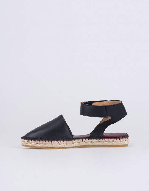 Aunt Espadrilles Sandal in Black Leather