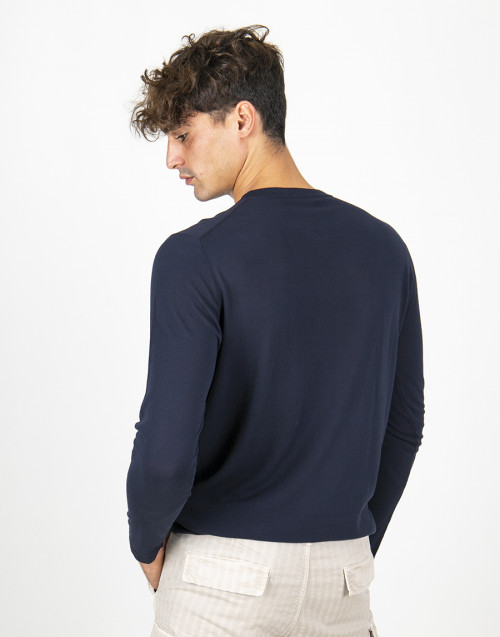 Blue cotton lightweight sweater